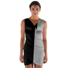 Black Grey Wrap Front Bodycon Dress