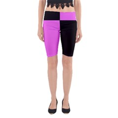 Black Pink Yoga Cropped Leggings by TimelessFashion
