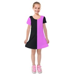 Black Pink Kids  Short Sleeve Velvet Dress by TimelessFashion