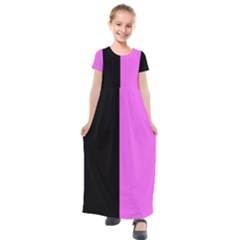 Black Pink Kids  Short Sleeve Maxi Dress by TimelessFashion