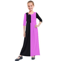 Black Pink Kids  Quarter Sleeve Maxi Dress by TimelessFashion