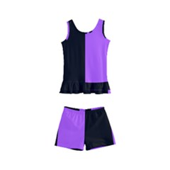 Black Purple Kids  Boyleg Swimsuit