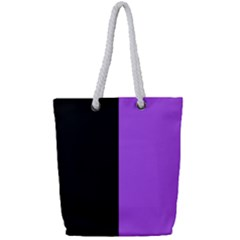 Black Purple Full Print Rope Handle Tote (small) by TimelessFashion
