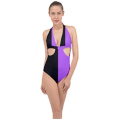Black Purple Halter Front Plunge Swimsuit by TimelessDesigns