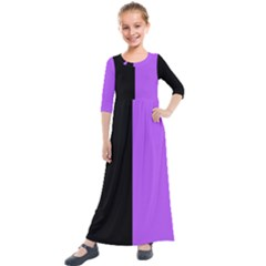 Black Purple Kids  Quarter Sleeve Maxi Dress by TimelessFashion