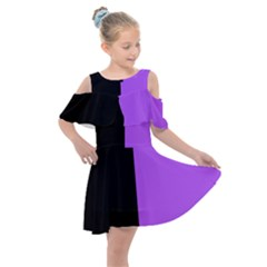 Black Purple Kids  Shoulder Cutout Chiffon Dress by TimelessFashion