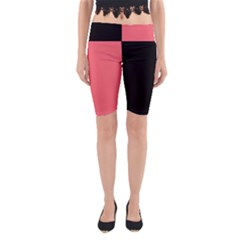 Black Red Yoga Cropped Leggings by TimelessFashion
