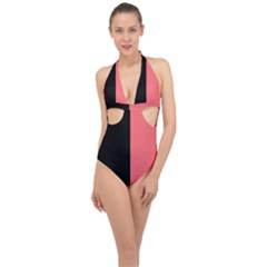 Black Red Halter Front Plunge Swimsuit by FEMCreations