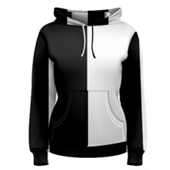 Black White Women s Pullover Hoodie by TimelessFashion