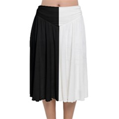 Black White Velvet Flared Midi Skirt by TimelessFashion
