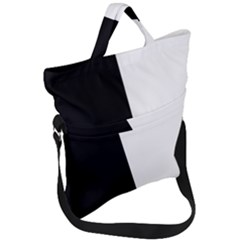 Black White Fold Over Handle Tote Bag by TimelessFashion