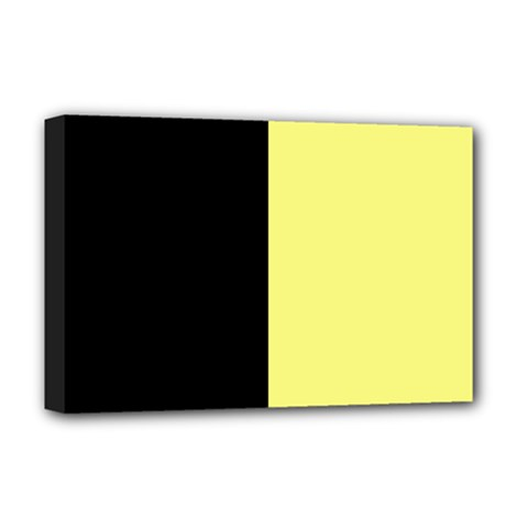 Black Yellow Deluxe Canvas 18  X 12  (stretched) by TimelessDesigns
