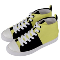 Black Yellow Women s Mid Top Canvas Sneakers by TimelessFashion