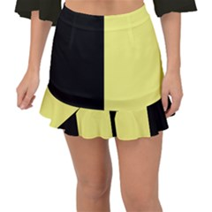 Black Yellow Fishtail Mini Chiffon Skirt by TimelessFashion