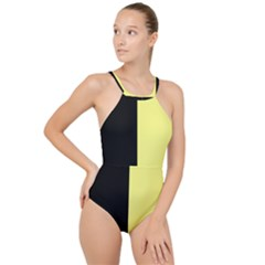 Black Yellow High Neck One Piece Swimsuit by TimelessDesigns