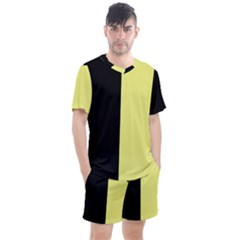 Black Yellow Men s Mesh Tee And Shorts Set by TimelessFashion