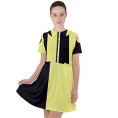 Black Yellow Short Sleeve Shoulder Cut Out Dress