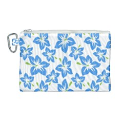 Blue Blossom Canvas Cosmetic Bag (large) by FEMCreations