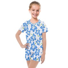 Blue Blossom Kids  Mesh Tee And Shorts Set by TimelessFashion