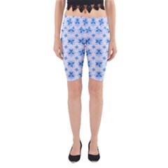 Blue Floral Yoga Cropped Leggings by TimelessFashion