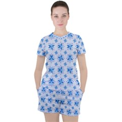 Blue Floral Women s Tee And Shorts Set