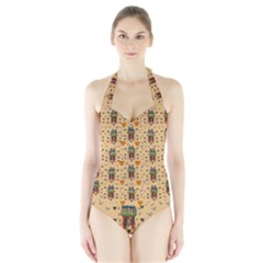 Sankta Lucia With Love And Candles In The Silent Night Halter Swimsuit by pepitasart