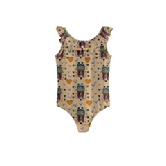 Sankta Lucia With Love And Candles In The Silent Night Kids  Frill Swimsuit