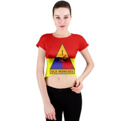 Flag Of U S  Army 1st Armored Division Crew Neck Crop Top