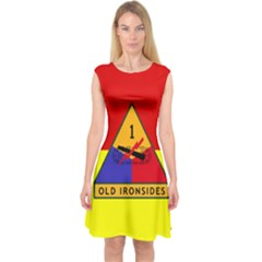 Flag Of U S  Army 1st Armored Division Capsleeve Midi Dress