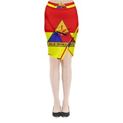 Flag Of U S  Army 1st Armored Division Midi Wrap Pencil Skirt