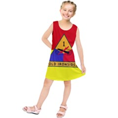Flag Of U S  Army 1st Armored Division Kids  Tunic Dress