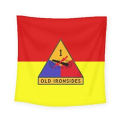 Flag Of U S  Army 1st Armored Division Square Tapestry (small)