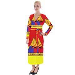 Flag Of U S  Army 1st Armored Division Velvet Maxi Wrap Dress