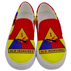 Flag Of U S  Army 1st Armored Division Men s Canvas Slip Ons