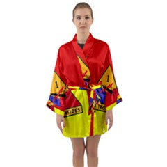 Flag Of U S  Army 1st Armored Division Long Sleeve Kimono Robe