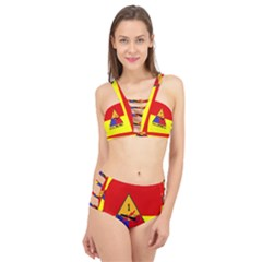 Flag Of U S  Army 1st Armored Division Cage Up Bikini Set