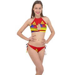 Flag Of U S  Army 1st Armored Division Cross Front Halter Bikini Set