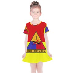 Flag Of U S  Army 1st Armored Division Kids  Simple Cotton Dress