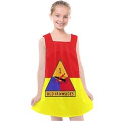 Flag Of U S  Army 1st Armored Division Kids  Cross Back Dress