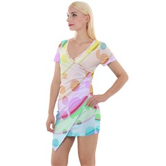 Bubbles On A Rainbow Short Sleeve Asymmetric Mini Dress by FEMCreations