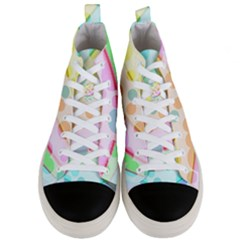 Bubbles On A Rainbow Men s Mid Top Canvas Sneakers