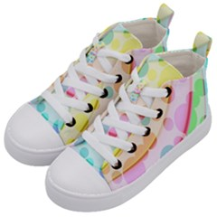 Bubbles On A Rainbow Kids  Mid Top Canvas Sneakers by TimelessFashion