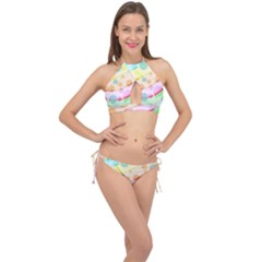Bubbles On A Rainbow Cross Front Halter Bikini Set