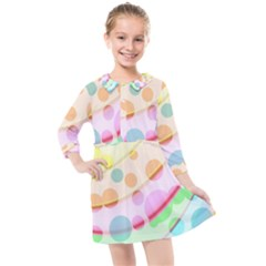 Bubbles On A Rainbow Kids  Quarter Sleeve Shirt Dress
