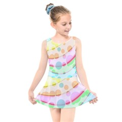 Bubbles On A Rainbow Kids  Skater Dress Swimsuit