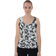 Camouflage In Black And White Velvet Tank Top