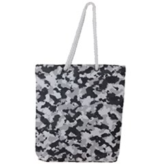 Camouflage In Black And White Full Print Rope Handle Tote (large)