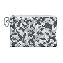 Camouflage In Black And White Canvas Cosmetic Bag (large)
