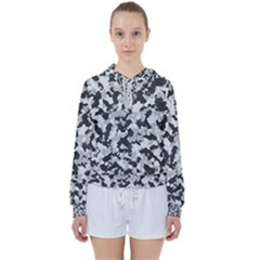 Camouflage In Black And White Women s Tie Up Sweat