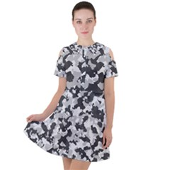 Camouflage In Black And White Short Sleeve Shoulder Cut Out Dress  by TimelessFashion
